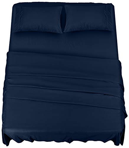 Utopia Bedding Bed Sheet Set - 4 Piece Queen Bedding - Soft Brushed Microfiber Fabric - Wrinkle, Shrinkage & Fade Resistant - Easy Care (Queen, Navy)