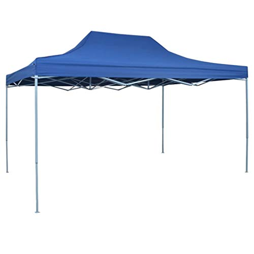 Kiosko Professional Folding Garden Gazebo Waterproof UV Protection Gazebo for Garden Patio Celebration 3 x 4 m Blue Steel