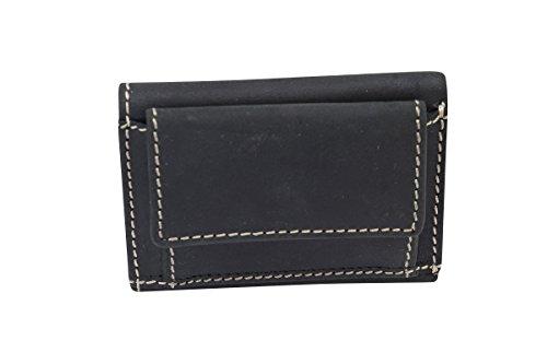 LEAS Mini Geldbörse kleines Portemonaie mit Geschenkbox Echt-Büffel-Leder - Vintage-Collection 9,5x7x1cm (BxHxT) (schwarz)