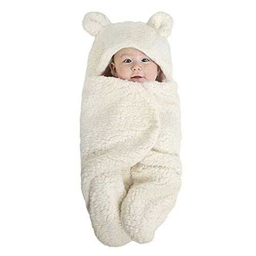MH-RING Saco de Dormir Bebe con Piernas, Saco de Dormir Bebe Recien Nacido Algodón 4 Estaciones Manta Saco de Dormir para Recién Nacido (Color : White, Size : Medium 65cm)