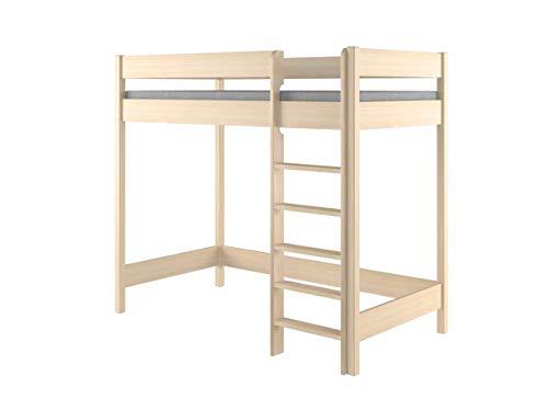Hubi Loft Bunk Bed front enter (160x80x160, Bleached Oak)
