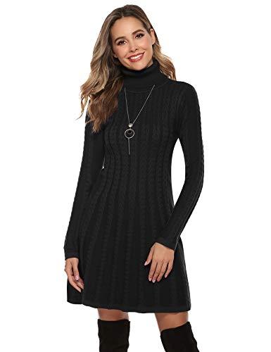 Abollria Strickkleid Damen Winterkleid Hoher Kragen Wollkleid Langarm Pulloverkleid mit Zopfmuster Elegant Pullikleid A-Linie Midikleid...