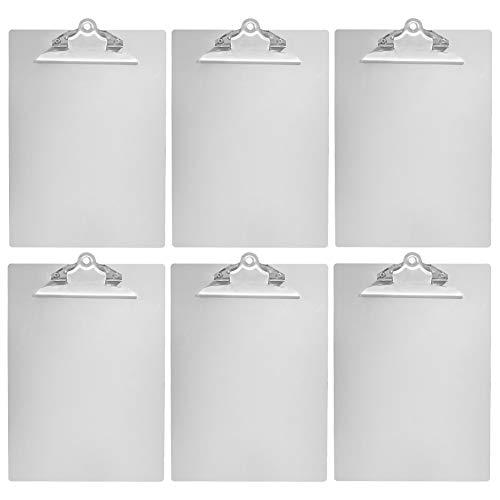 AmazonBasics Portapapeles de aluminio, tamaño carta, clip estándar, paquete de 6