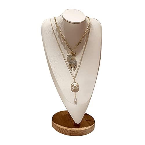 N\C Busto de exhibición de Collar Soporte de exhibición de joyería de maniquí, Soporte de exhibición de Collar de Cuero Busto de maniquí de joyería Negro ZZST