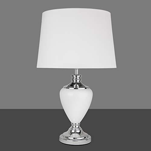 Hepburn Large Ceramic Table Lamp with Matching Shade - Modern White & Chrome