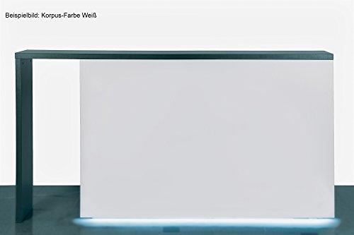 Dila GmbH Empfangstheke inkl. LED-Beleuchtung am Sockel | 6 Farben auswählbar | Verkaufstheke Infotheke Büromöbel Ladeneinrichtung (anthrazit)