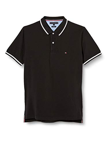 Tommy Hilfiger Herren Contrast Tipped Regular Polo Hemd, Black, X-Large