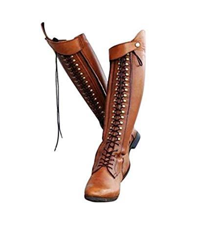 XLBHSH Reitstiefel Damen Frauen Leder Lange Kniehohe Land Yard Reiter Harness Stiefel,01,38