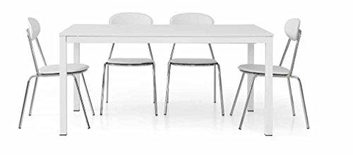 Legno&Design Table rectangulaire Blanc frassinato avec Structure en métal et 1 allonge 50 cm