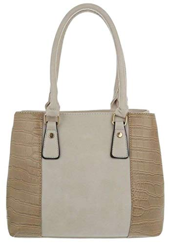 Dudlin Damen Model: Zweifarbig, Schultertasche, Handtasche, Shopper, hochwertige Lederoptik (10059)