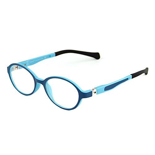 Cyxus Filteren, blauw licht bril voor kinderen [flexibele lichtgewicht] 5-10 jaar oude kinderbril tegen belasting van de ogen (heldere lenzen) ovaal frame Standardgröße blauw