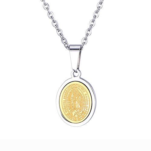 J.Memi.Men Acero Inoxidable Collar y Chapado en Oro Colgante Color Dorado Medalla de la Virgen María Madre de Jesús Joyas fantasía Brillantes, Regalo para Mujer,GoldSteelSmall