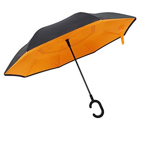 Volledig automatische dubbele laag winddichte omkeerbare paraplu, C-vormige handgreep anti-uv vrouwelijke omkeerbare paraplu, compacte versterkte winddichte paraplu