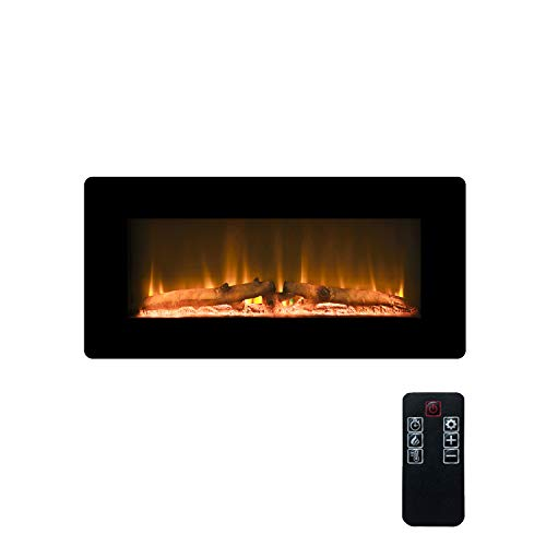"LOKATSE HOME 36"" 1400W Wall Mounted Electric Fireplace Stove Heater with Realistic Logs Flame Brightness Timer Thermostat Adjustable Manual&Remote Control (36 inch 3-Level) 1400W 3-Level Adjustable Brightness control electric Fireplace flame heater Home wall"