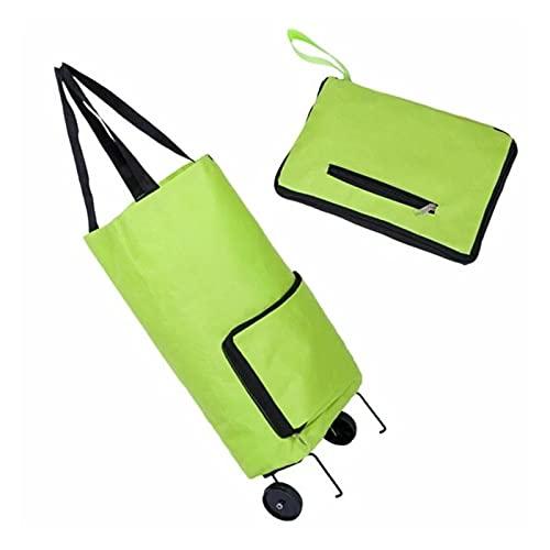 LVLUOKJ 2 a 1 Bolsas Plegables para Carretilla con Ruedas Reutilizables Bolsa de Carrito de Compras Carga 15kg (Color : Green)