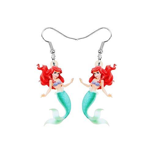 Pendientes de gota con diseño de Ariel La Sirenita Princesa de dibujos animados