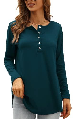 Shirt Langarm Damen Sexy V-Ausschnitt Lässig Spitze Oberteile Sportlich Baumwolle Elegant Pullover Bluse Henley Shirt(A-Navy blau,XL)