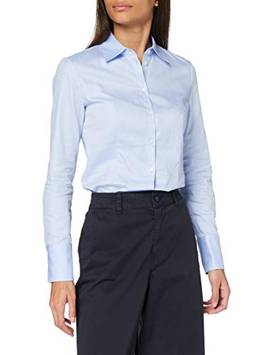 HUGO Damen The Fitted Shirt Bluse, Light/Pastel Blue457, 44