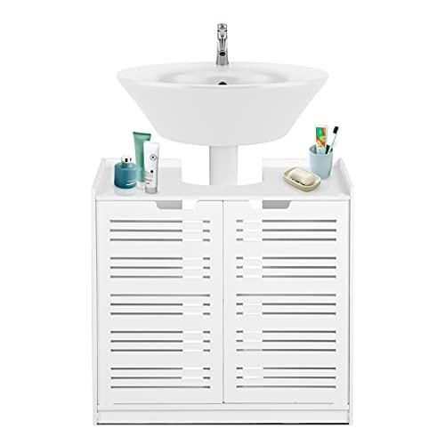 EBTOOLS - Armario de almacenaje Blanco para Cuarto de baño, Mueble bajo el Lavabo, Mueble de pie Impermeable con 2 Puertas de Fregadero, 60 x 30 x 60 cm