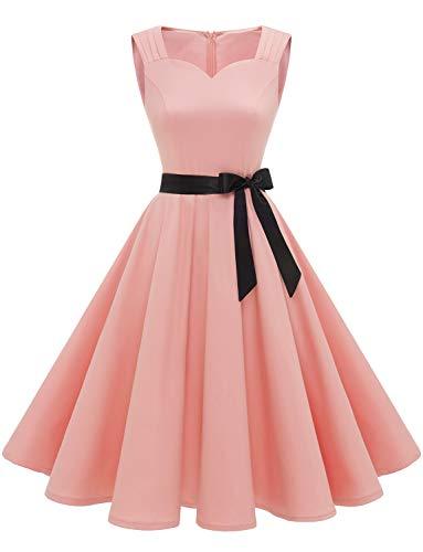 Damen 1950er Vintage Retro Rockabilly Kleider Petticoat Faltenrock Cocktail Festliche Kleider Blush 2XL