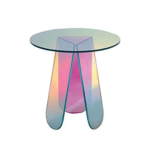 Diseño Moderno y Sencillo Mesa de centro, dormitorio nórdico pequeña mesa redonda red roja mesa de esquina simple y colorido plástico mesa de café transparente mini mesa lateral Fácil de Montar