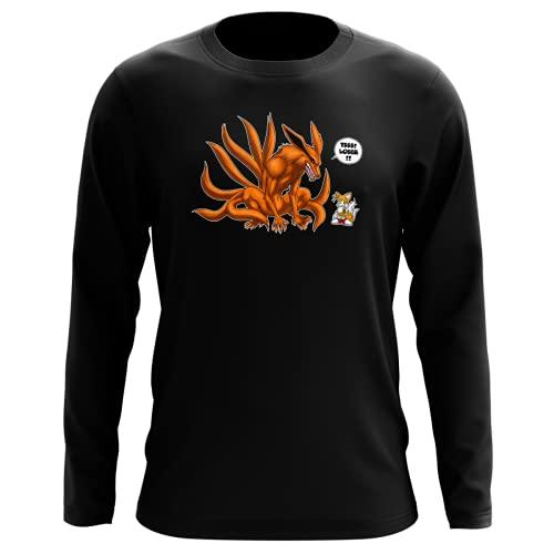 T-Shirt Manches Longues Noir Parodie Naruto - Sonic - Kyubi and Tails - Traduction Anglais (T-Shirt de qualité Premium de Taille M - imprimé en France)