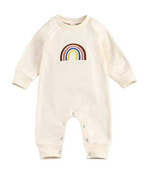 Newborn Baby Boy Girl Long Sleeve Rainbow Print Long Sleeve Romper Footies Bodysuits Jumpsuit  Beige 6-12 Months