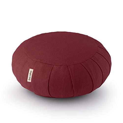 basaho Classic Zafu Cojín de Meditación | Algodón Orgánico | Cáscara de Trigo Sarraceno | Funda Extraíble Lavable (Borgoña Tibetano)