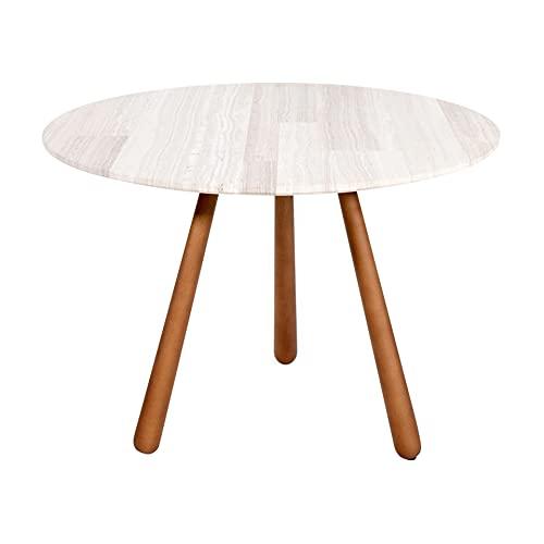 Drop, Mesa Auxiliar Redonda con Patas de Madera Natural en Forma de Gota y Tapa de mármol White Wood Patchwork, una solución hogar
