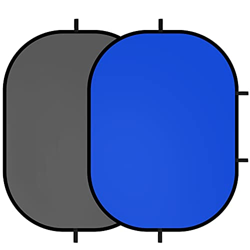 Selens Fondo Azul Gris de Muselina Pantalla Chromakey Fondo Plegable Pop Up 150x200cm para Retrato Fotografía Vídeo Juego Estudio Fotográfico con Bolsa de Transporte