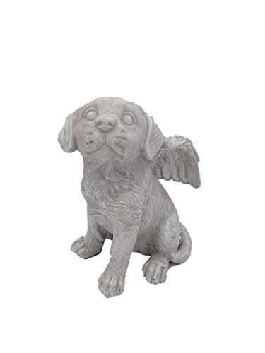 Comfy Hour Pet in Loving Memory Collection 7' Dog Angel Figurine - in Memory of My Best Friend Bereavement, Light Gray, Polyresin