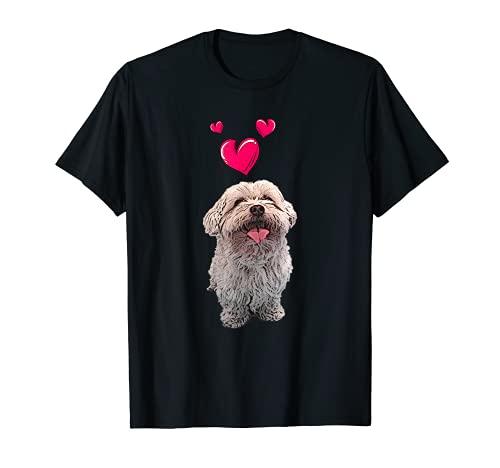 Malteser-Hund und Herzen, süßes weißes Malteser-Welpen-Motiv T-Shirt