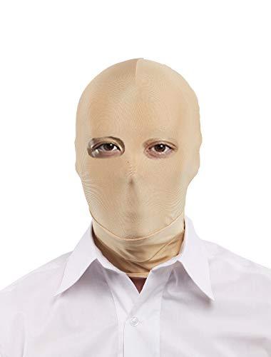 Insun Rollenspiel Maske Lycra Spandex Kopfmaske Zentai Kostüm für Halloween Masquerade Offene Augen Beige