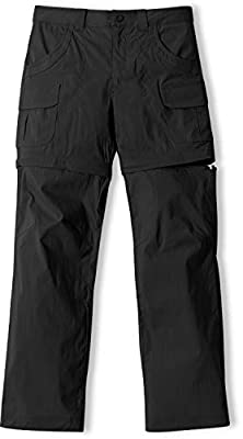 CQR Girls' Hiking Cargo Pants, UPF 50+ Quick Dry Convertible Zip Off Pants, Outdoor Camping Pants, Girl Convertible(gxp407) - Black, Large_[14-16]