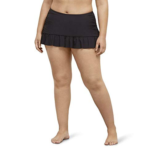 Kenneth Cole REACTION Women's Plus-Size Ruffle Shuffle Rouched Skirted Bottom, Black, 1X