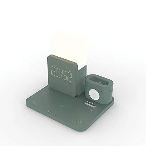LAHappy Cargador Inalámbrico Rápido Reloj Luz Nocturna 5 en 1, Qi Compatible Cargador Rápido Inducción para iPhone 12/12 Pro/11 Pro Max/XR/XS/X/8/8 Plus iWatch Series AirPods,Verde