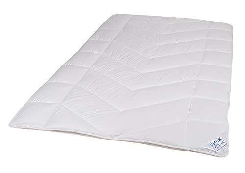 Traumnacht 5-Star Leicht Sommerdecke, dünne und leichte Bettdecke, aus reinem Baumwolle-Satin, 135 x 200 cm, waschbar, weiß