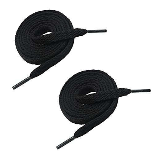 VSUDO 180cm Length Flat Black Trainers Shoelace, 8mm Wide Black Shoe Laces...