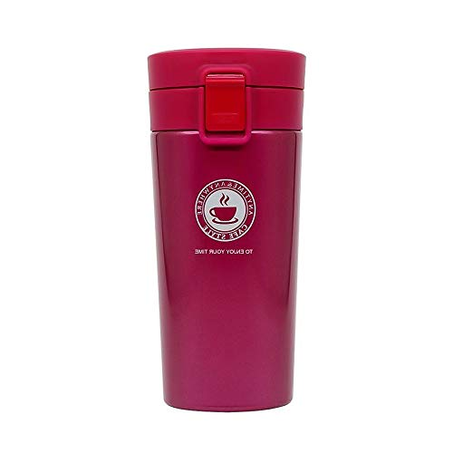 Tazas Térmicas Termo de Café para Llevar de Acero Inoxidable Vaso Termico Prueba de Fugas Taza de Café Térmica Taza de Automóvil de Doble Pared Sin BPA para Coche Oficina Viaje 380ML (Rosa Roja)
