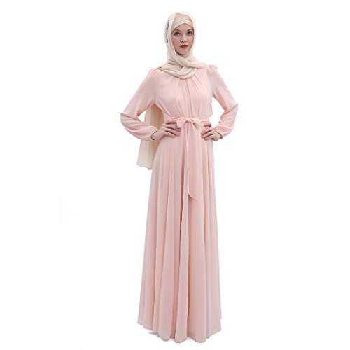 BooW Women's Chiffon Kaftan Abaya Dress Muslim Long Sleeve Self Tie Flowy Maxi Dress Islamic Evening Gown (20243-Pink, L)