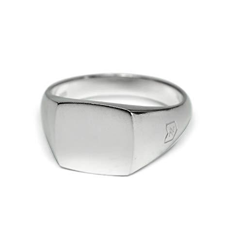 Sprezzi Fashion Siegelring Herren silber aus massivem 925 Sterling Silber glänzend oder matt für Gravur | minimalistisch-moderner Männerring Schmuck aus Deutschland mit Geschenkbox (Matt, 62)