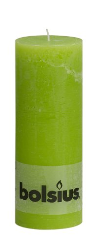 Bolsius Tall Textured Pillar Candle in 'Lime Green'