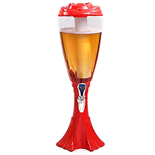 WDDLD Dispensador De Agua De Torre De Cerveza, Dispensador De Agua De Torre De Bebida Transparente De 1,5 litros, Tubo De Hielo ExtraíBle, Utilizado para Bares Familiares, Fiestas, Barbacoas