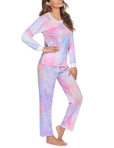 Unibelle Damen Schlafanzug Lang fur Winter Schlafanzüge Langarm Tie Dye Nachtwäsche