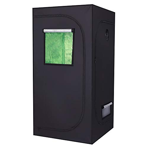 XLLQYY LY-90 * 90 * 180 cm Uso doméstico Tienda de campaña hidropónica desmontable con ventana verde y negro (B)