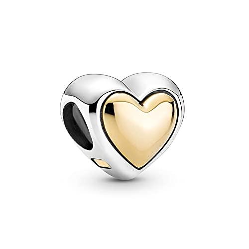 Auténtica Pandora 925 Cuentas De Plata Esterlina Diy Perla Abovedada Corazón Dorado Encanto Apto Para Mujeres De Moda Brazalete Regalo Joyería