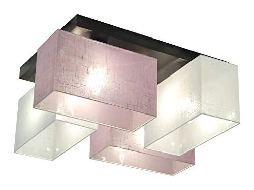 Deckenlampe - HausLeuchten JLS41WELID - 4 Varianten, Deckenleuchte, Leuchte, Lampe, 4-flammig, Massivholz (WEIß/LILA)
