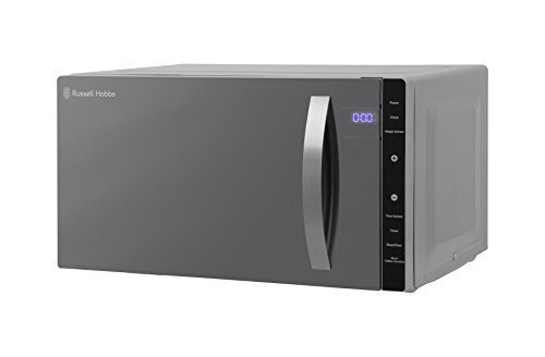 Russell Hobbs RHFM2363S 23 L 800 W Silver Digital Flatbed Solo Microwave with 5 Power Levels, 8 Auto Cook Menus, Easy Clean, Clock and Timer, Automatic Defrost