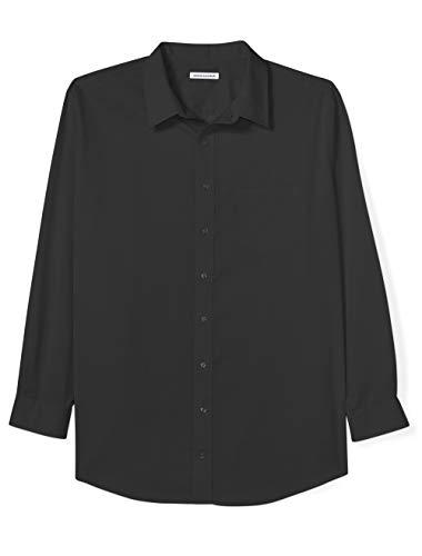 Amazon Essentials Men's Big & Tall Wrinkle-Resistant Long-Sleeve Solid Dress Shirt, Black, 19' Neck, 37'-38' Sleeve