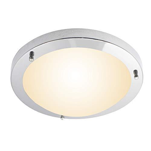 IMVSINCERE 18W Chrom Deckenlampe LED,IP44 Wasserfest Glas Badezimmer Deckenlampe,Ø31cm,3000K 1360LM, Warmweiß Bad Deckenleuchte